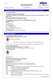 Sicherheitsdatenblatt Mipa Verdünnung für Renovierfarbe, 1 Liter