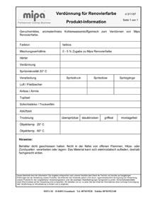 Produktinformation Mipa Verdünnung für Renovierfarbe, 1 Liter